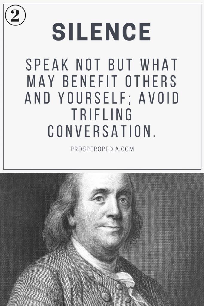 Virtue #2 Silence - Benjamin Franklin's 13 Virtues