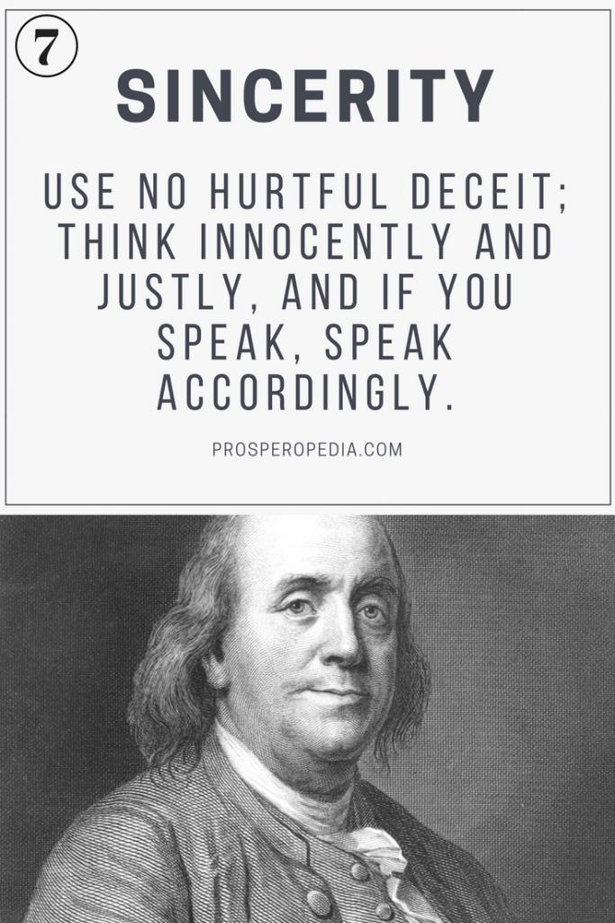 Virtue #7 Sincerity - Benjamin Franklin's 13 Virtues