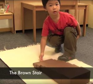 Brown Stair Montessori Program Sensory Activity
