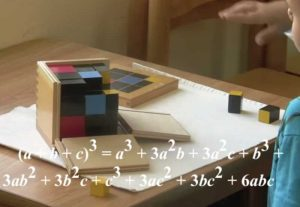 Trinomial Cube Montessori Program Sensory Educational Activity