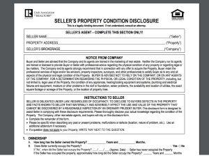 Real Estate Seller Disclosure Law Property Form
