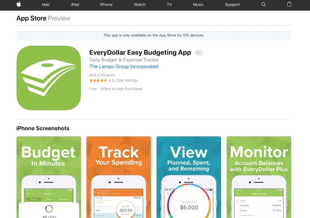 EveryDollar Install Apple AppStore for Mobile Devices