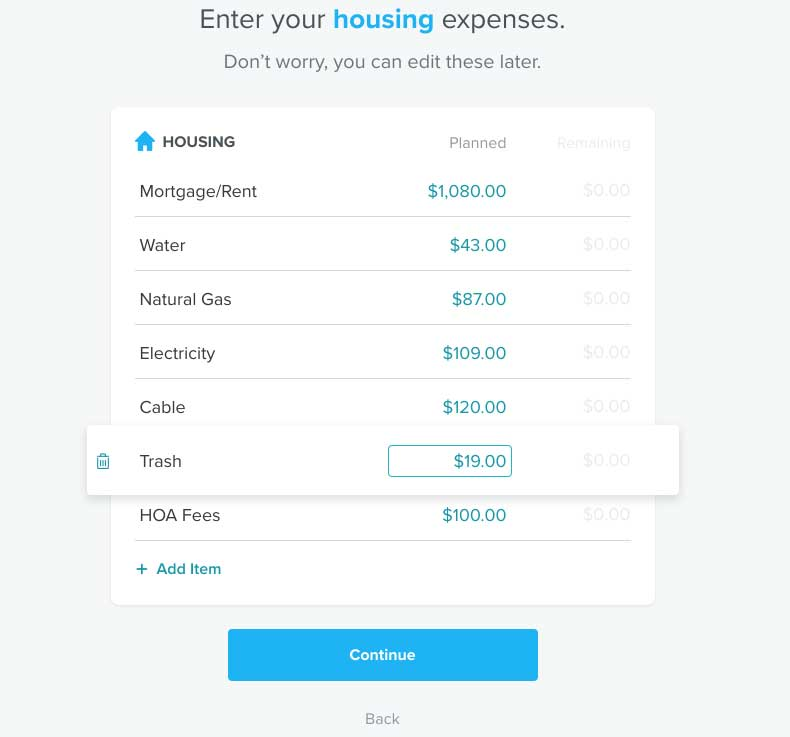 EveryDollar Budget Input Housing Expenses