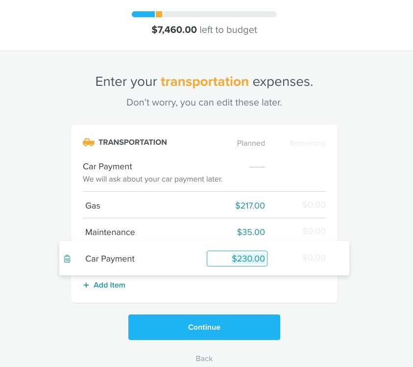 EveryDollar Budget Input Transportation Expenses
