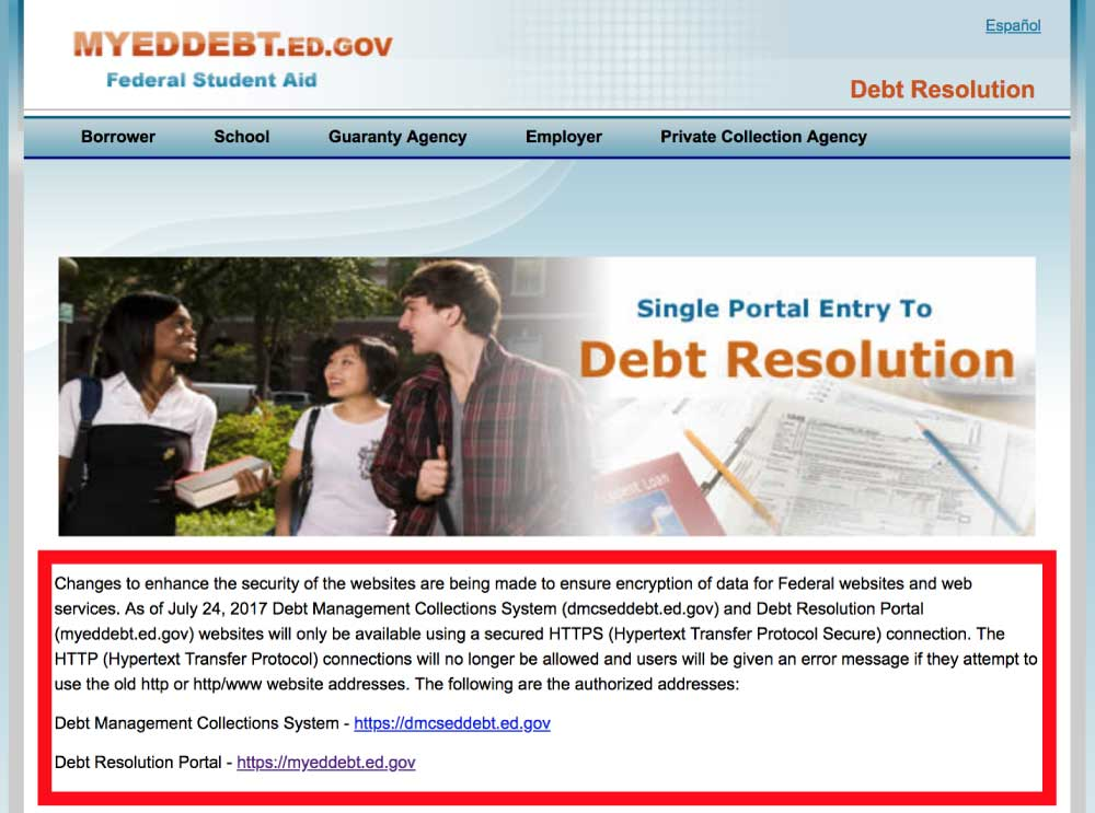 MyEdDebt.gov Defaulted Student Loan Portal