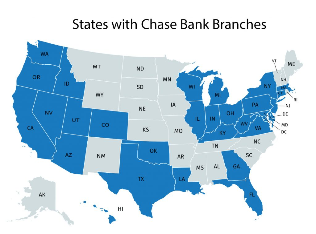 States with Chase Bank Branches and Locations