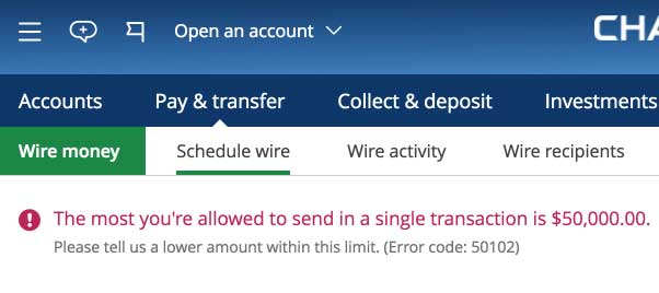 Cool Chase Bank Limit On Wire Transfers From Personal Accounts 50 000 Wiring Cloud Peadfoxcilixyz