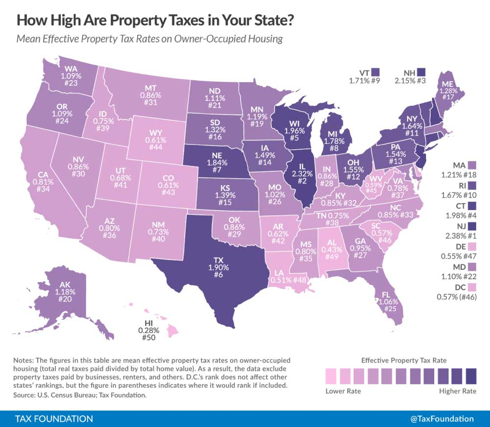 United States Property Tax Comparison Map