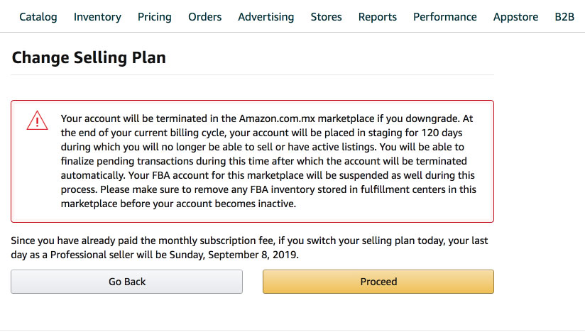 Amazon Change Selling Plan Account Downgrade to Individual