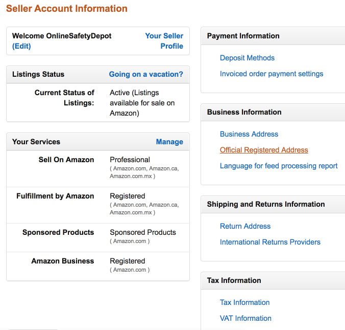 Amazon Seller Account Information Your Services Professional Plan