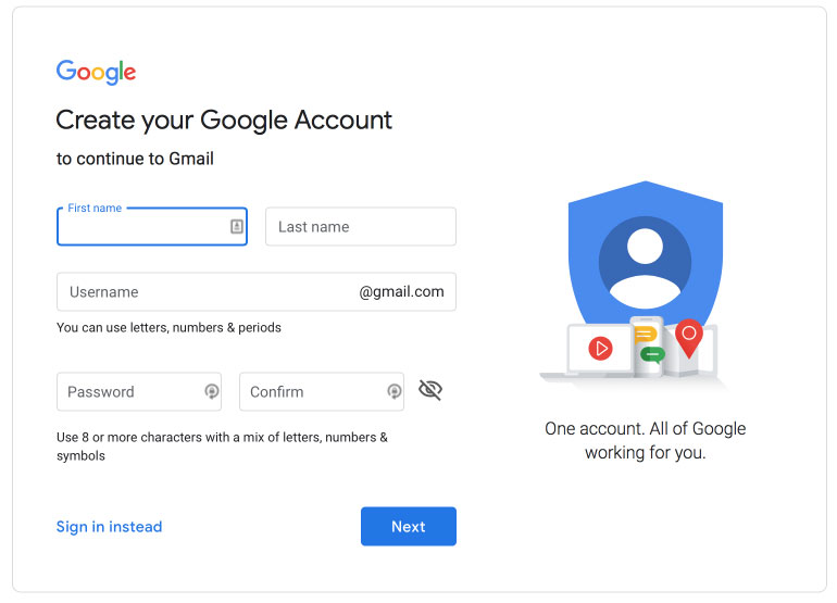 Create Google Account, Gmail Signup Page