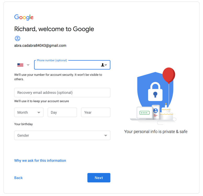 Google Accounts Data Collection Account Recovery Options