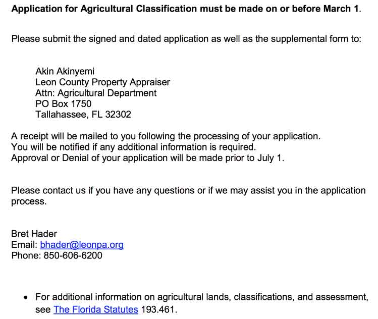 Leon County Florida Agricultura Land Classification Requirements