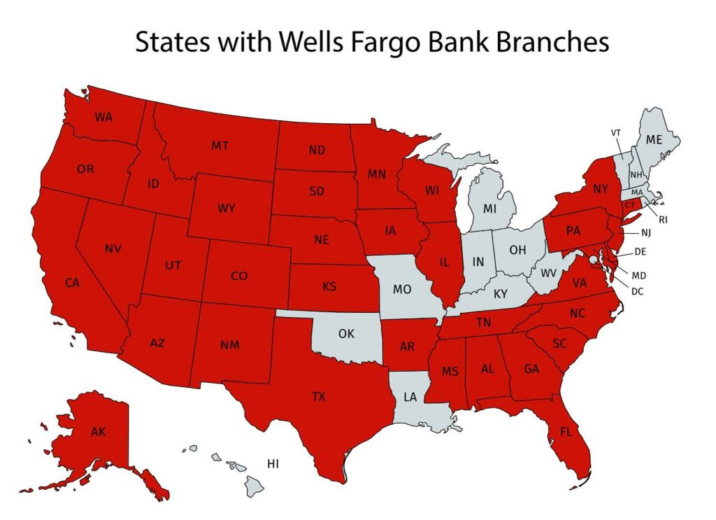 States with Wells Fargo Branches in the US
