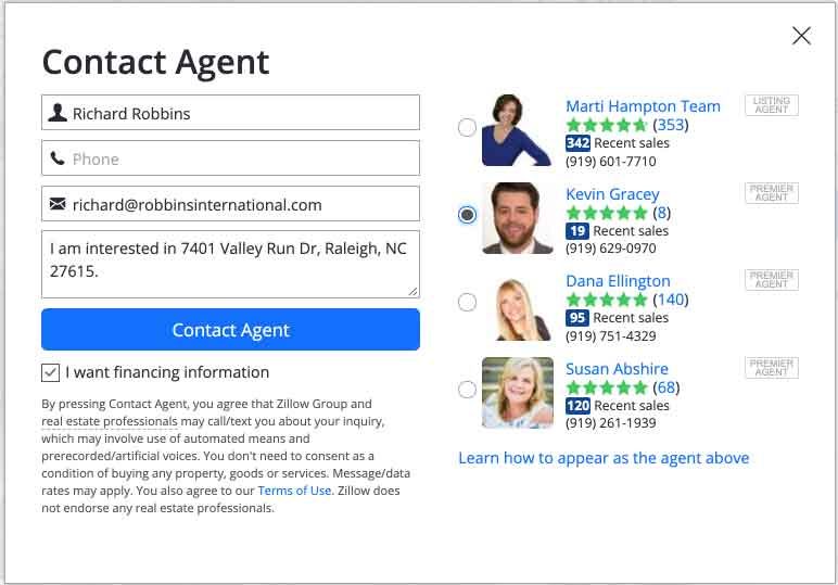 Zillow Local Property for Sale Buyer Agent Listings