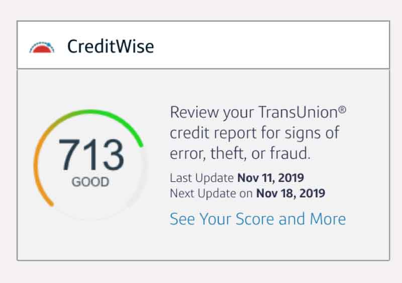CapitalOne Creditwise Free VantageScore Credit Report from TransUnion