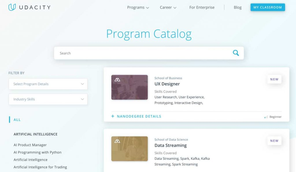 Udacity Nanodegree Programs Technical Courses