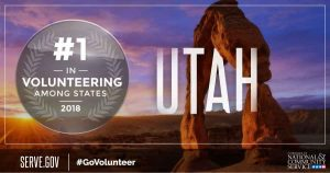 Utah Ranks First Volunteering United States