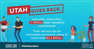 Utah Volunteering Statistics 3.2 Billion Dollars Annually