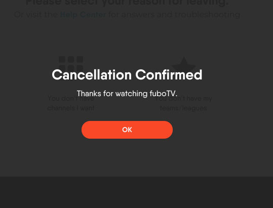 FuboTV Subscription Cancellation Confirmed