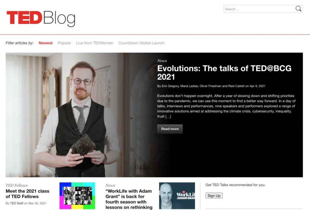 Ted Talks Blog Runs on WordPress